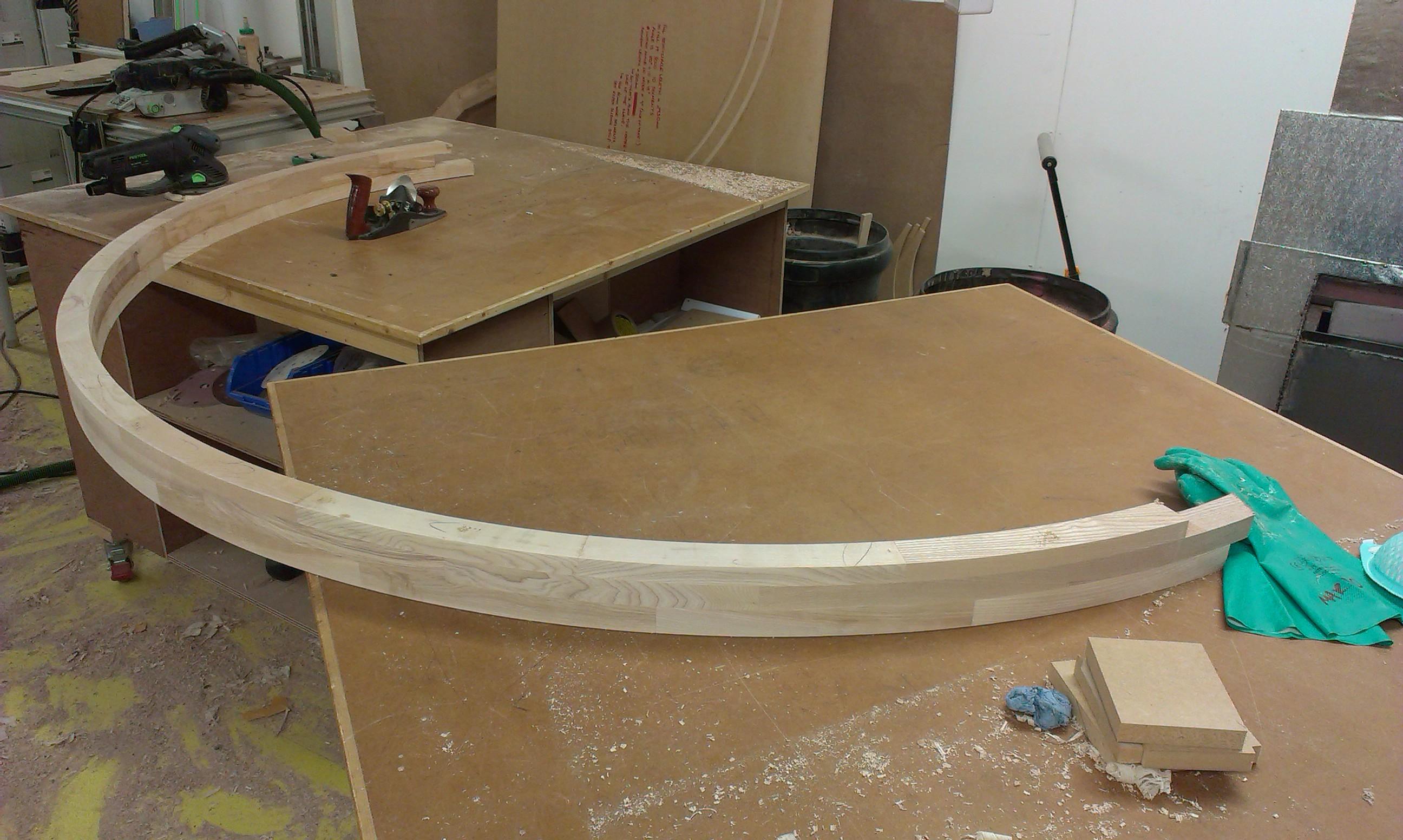 Brick built semi-circle in solid Ash